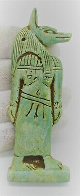 Post Medieval Egyptian Glazed Faience Amulet Of Anubis Beautiful