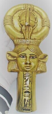 Beautiful Old Antique Egyptian Gold Gilded Limestone Statue Anhk Key Of Life