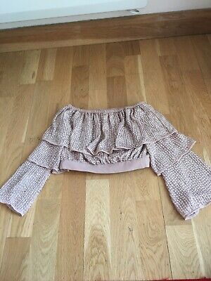 River Island Girls Crop Top Bardot Sequins Age 5-6 Party Summer Holiday Pretty