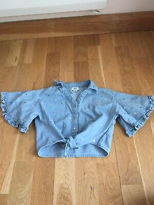 River Island Girls Tie Denim Shirt Top Sequins Age 5-6 Party Summer Holiday