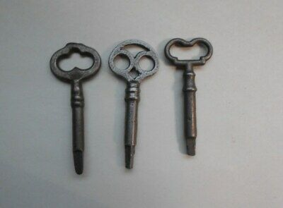 Lot Of 3 Vintage Antique Cast Iron Steel Sewing Machine Cabinet Keys / Singer ?