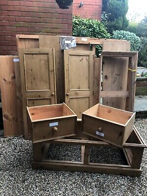 Solid Antique Style Waxed Pine 2 Door Double Wardrobe with Twin Drawer Base Unit