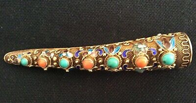 Antique Vintage  Chinese silver vermeil enamel turquoise coral finger nail pin