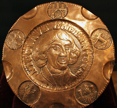 Arts & Crafts Period  - Nicolaus Copernicus - Copper Wall Plaque / Charger