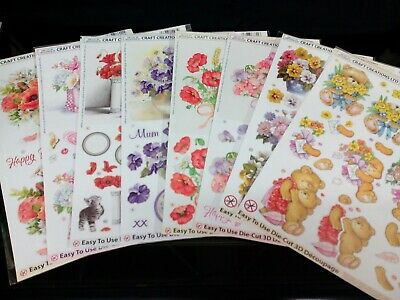 Job Lot 8 X Craft Creations Die Cut Decoupage Ladies Themed Card Making Free P&P