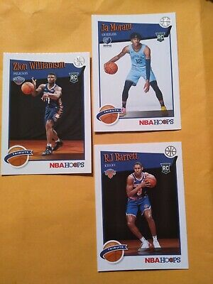 2019-2020 19-20 nba hoops lot rookie's Zion Morant top rookies cards.