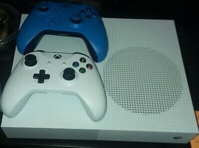 Microsoft Xbox One S All-Digital  1TB White Console Two controller bundle lot