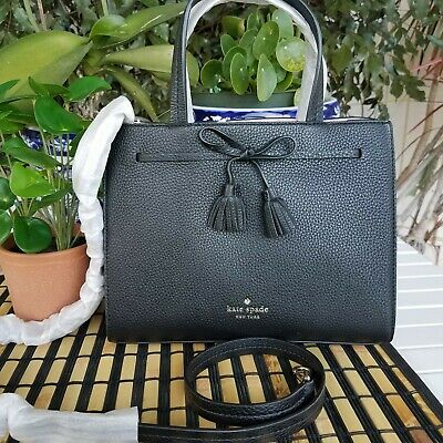Kate Spade Hayes Small Satchel Crossbody Leather Bag.BLACK NWT RETAIL: $328