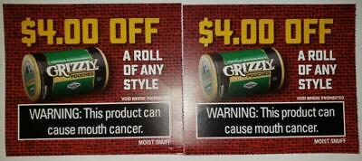 2X Grizzly Coupons Off A Roll Any Style $8.00 Savings Valid Expiration Dates