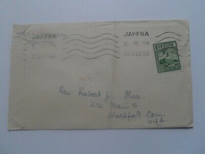 Sri Lanka Ceylon Jaffna 1950 Cover Used To Hartford Ct Usa