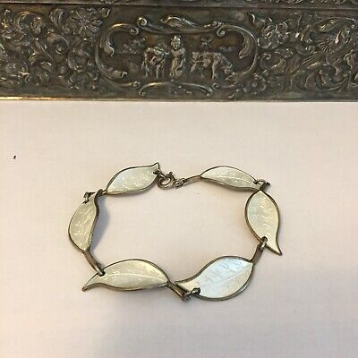Norwegian Norway David-Andersen 925S/Enamel 'Leaf' WILLY WINNÆSS 1950's Bracelet
