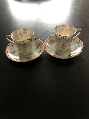 Antique Hand Painted 2 Tea Cup Sets Beautiful Pieces