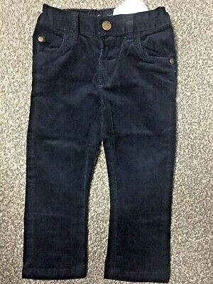 Next velour baby infant toddler boys navy blue jeans trousers
