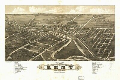 1882 map Panoramic view of the city of Kent, Portage County, Ohio 1882|Size 16x2