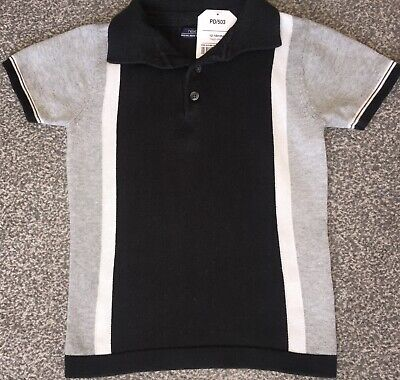Next baby boys toddler black grey knitted polo blouse shirt