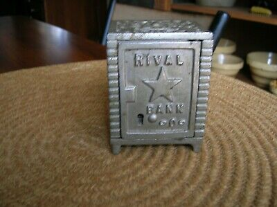 """Antique Vintage Cast Iron """"Rival"""" Bank Safe With Embossed Star Old Paint"""