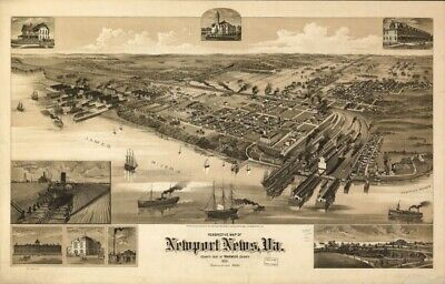 1891 map Perspective map of Newport News, Va., county seat of Warwick County 189