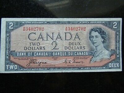 1954 BANK OF CANADA $2 TWO DOLLARS A/B 3402702 BC-30a DEVIL'S FACE COYNE TOWERS