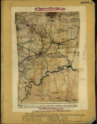 1862 map showing position of Union and Rebel armies, 28th to 30th Aug. 1862. Gen