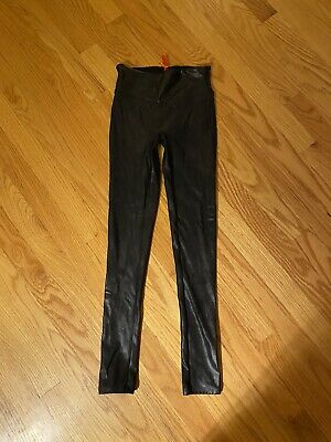 New! $98 Spanx Ready To Wow Faux Leather Shaping Leggings Sz Xs