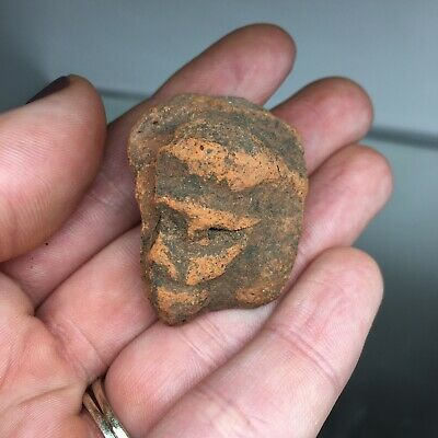 Pre-Columbian Zoomorphic Terracotta Red Pottery Ancient Head Fragment MONKEY