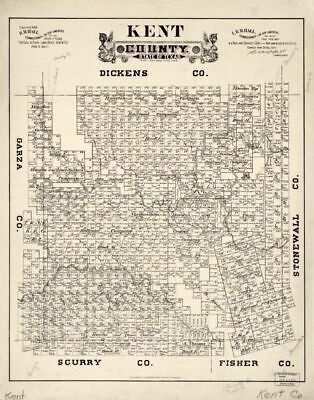 1888 map Kent County, State of Texas|Size 18x24 - Ready to Frame| Kent County|Ke