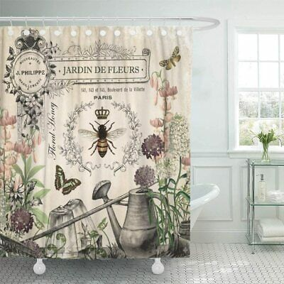 Shabby Chic French Bee Garden Gorgeous Floral Farmhouse Fabric Shower Curtain