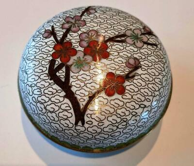 Vintage Chinese Cloisonne Round Box with Lid Featuring Cherry Blossoms