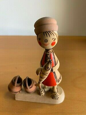 Vintage Mockba Russian Colorful Wooden Carved Doll Figurine Man With Fish