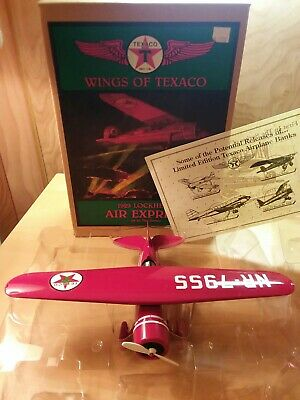 Wings of Texaco Die Cast 1929 Lockhead Air Express Airplane Bank in Original Box