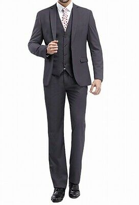 Mage Male Men Suits Gray Size XL US Small S 3-Piece Notch Lapel Slim-Fit $86 076