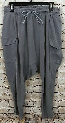 Free People womens large harem pants Just Like That Gray lounge movement H4