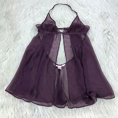 Victoria's Secret Women's S Purple Sheer Split Front Low Back Lingerie Nighty