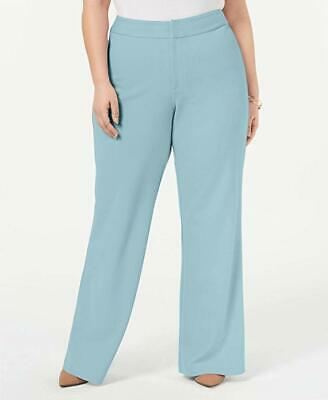 INC Plus Size 22W Womens Light Blue Textured Wide Leg Pants  (1102)