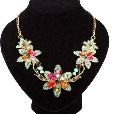 Chain Pendant Betsey Johnson color Flower Retro Women's jewelry Necklace Fine