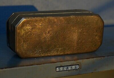 Gorgeous Antique Brass 18TH CENTURY Dutch SNUFF Tobacco BOX Etched Smoking GOLD