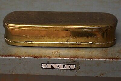 Gorgeous Antique Dutch Brass 18th Century SNUFF Tobacco BOX Etched Smoking GOLD