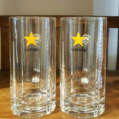 Sapporo Beer Steins Japanese Beer Branded Hanna Glassware 330ml Man Cave Bar ~ 2
