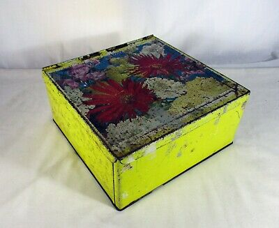 LARGE VINTAGE VE-TOY AUSTRALIA 3 1/4 Lb. SQUARE BISCUIT TIN WITH HINGED LID