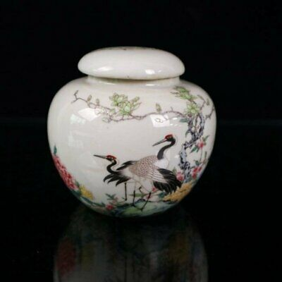 Collect Chinese old Handwork famille rose porcelain Crane tea caddy jar /Wb01