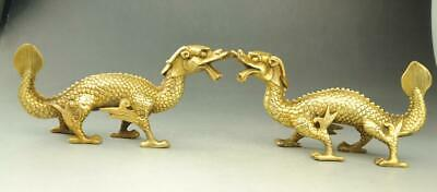 A pair Chinese old fengshui copper Hand carved Zodiac Dragon Statue f02