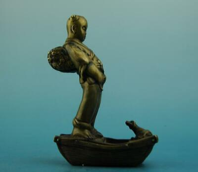chinese old copper hand-carved boy  and dog statue e01