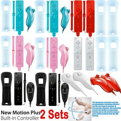 2X REMOTE CONTROLLER and NUNCHUCK FOR NINTENDO WII & WII U + SILICONE + STRAP UK