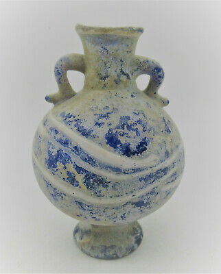 Ancient Roman Glass Aqua Blue Two Handled Aryballos Vessel 100 - 300 Ad Europe