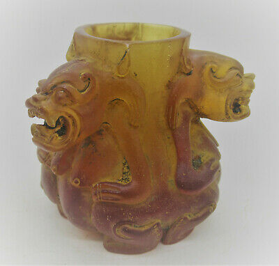 Ancient Near Eastern Rock Crystal Carved Decorated Rhyton Vessel