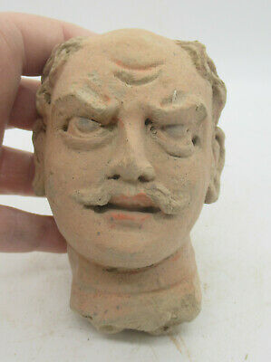 Rare Ancient Greek Terracotta Head Statue Fragment Male Head Circa 200Bc