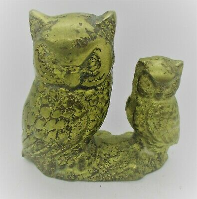 Wonderful Antique Old Ancient Greek Style Gilt Twin Attica Owl Figurine