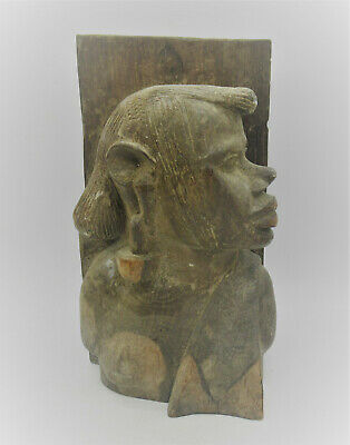 Large & Impressive Old African Wooden Ornament Bust Circa 1800-1900Ad