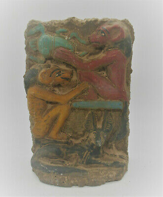 Scarce Ancient Egyptian Painted Stone Stella Depictions Of Sekhmet & Anubis