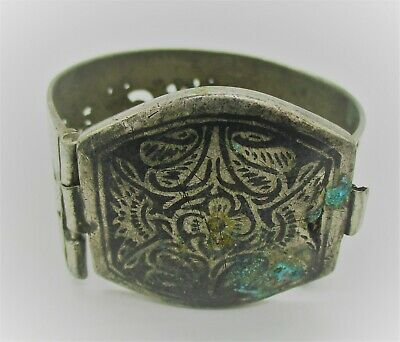 Very Nice Antique Silvered Islamic Bangle With Neillo Post Medieval